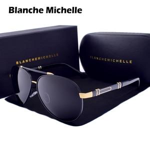 Image 1 - Blanche Michelle Pilot Polarized Sunglasses Men 2020 Brand Mirror Sun Glasses Driving UV400 Alloy Gafas De Sol Oculos With Box