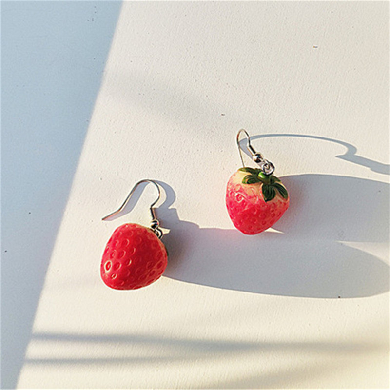 New Fruit strawberry earring female lovely girl simulation red strawberry dangle earring for women fine jewelry accessories DIY 17