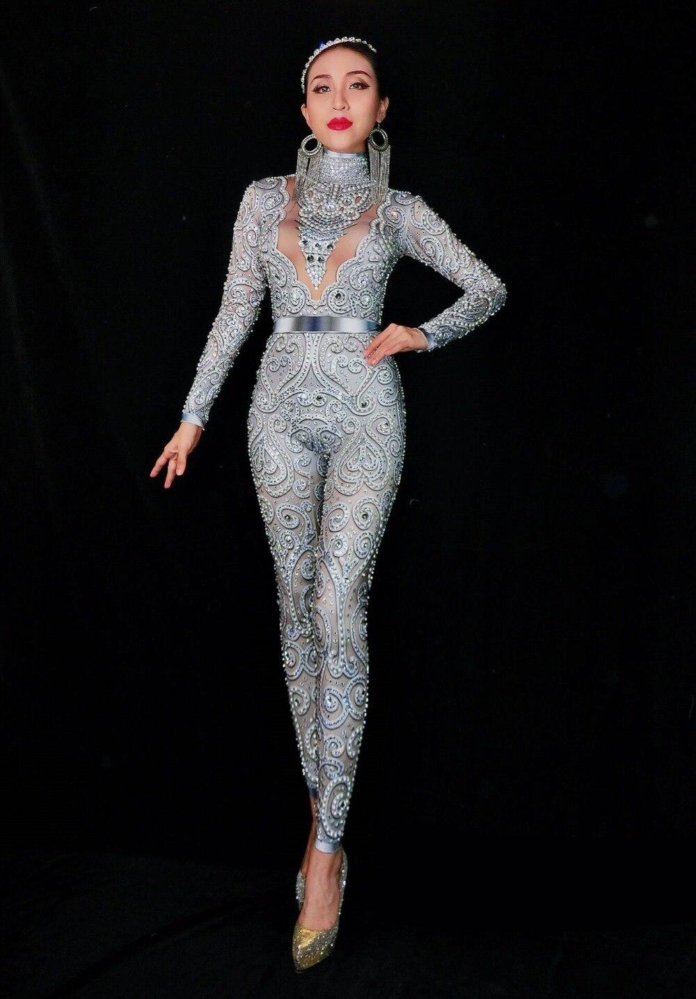 Высококачественный Женский серебристо серый комбинезон с кристаллами, сексуальный стрейчевый обтягивающий боди с жемчужинами, певица, бар