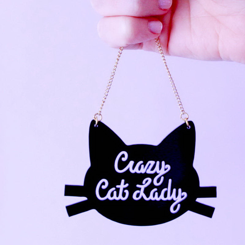 Vintage Jewelry Acrylic Laser cut jewelry Crazy Cat Lady Pendant Necklace Charming Christmas Gifts 31