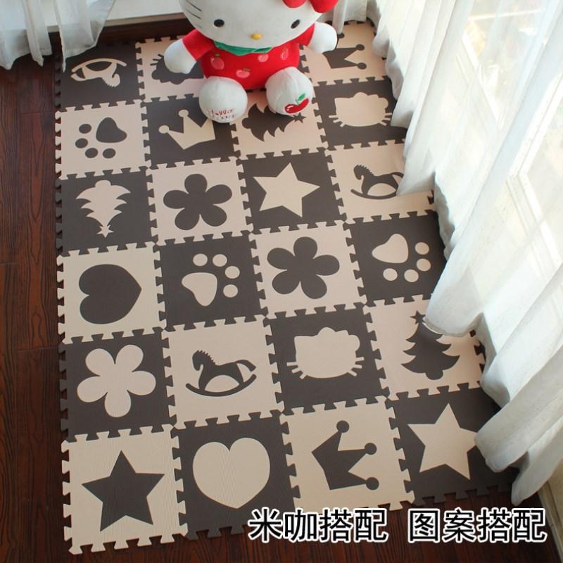 Baby EVA Cartoon FOAM MATS 10Pcs Beige Coffee Interlocking Exercise Tiles Floor For KidGYM Puzzle Soft Kids Play Room Sport