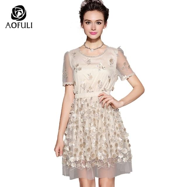 9662b577adb2c7 S-5XL luksusowe 3D kwiaty diamentowe koraliki sukienki damskie z krótkim  rękawem Mesh formalne sukienka
