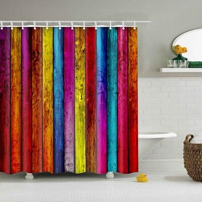 Красочные в радужную полоску узор занавески для ванной комнаты Водонепроницаемый полиэстер экологичный душевая Шторы s20 - Цвет: TZ170650
