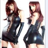 Sexy Women Faux Leather Bodycon Fetish Jumpsuit Black PVC Bodysuit Open Crotch Lace-Up Porn Teddy Lingerie Erotic Latex Catsuit