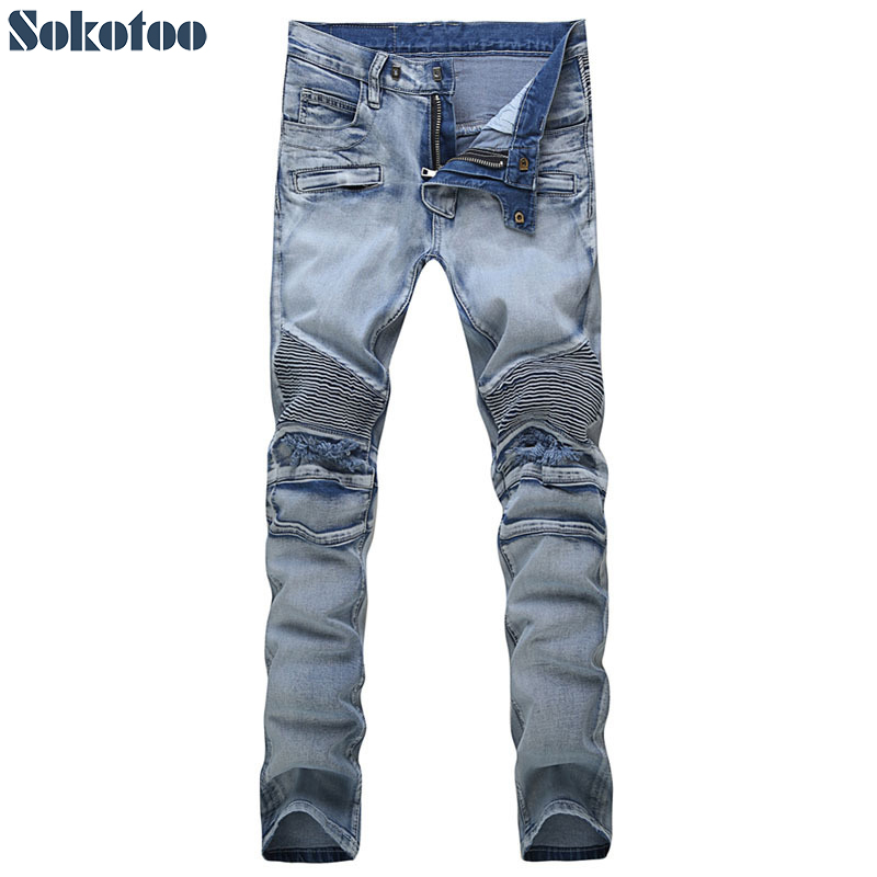 Sokotoo Men's casual vintage light blue hole ripped biker jeans Male fashion slim denim pants Straight long trousers 2017 new men s fashion vintage zipper patch hole ripped biker jeans slim straight stretch denim pants long trousers