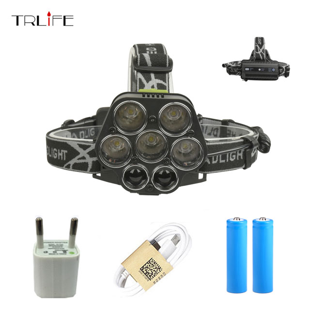 Rechargeable LED Headlamp 6 Modes XML-5*T6 XPE-2 7 LED Headlight USB Flashlight with White Red Green Blue Light By 2* 18650 pzcd pz 16 skull style creative 2 led mini red flashlight keychain white 2 x ag3 included