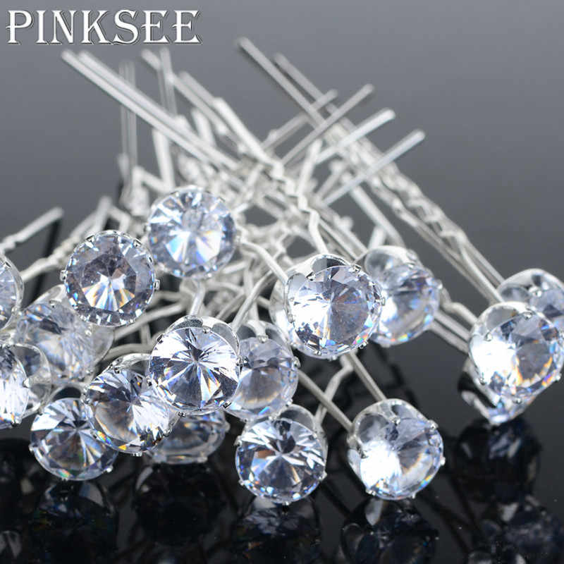 PINKSEE 20PCS Round Crystal Rhinestone Hair Pins Wedding Bridal Accessories Hair Clip For Women Jewelry Gift Wholesale