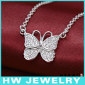 butterfly necklace,charm  necklace, heart shape jewelry.silver 925 jewelry