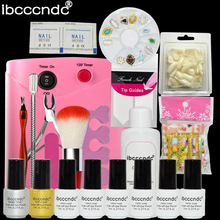 Nail Art Set Manicure Tools 36W UV Lamp 6 Color 7ml Gel Nail Polish Base Top Coat Gel with Remover False Nail Tips Decals Kit