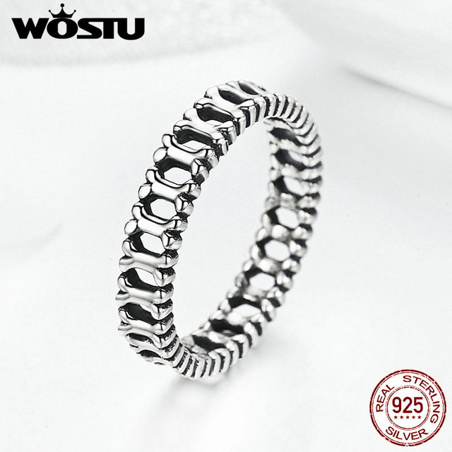WOSTU 2017 New Genuine 925 Sterling Silver Dog Woof Bone Stackable Party Rings For Women Girl Pet Jewelry FIR039