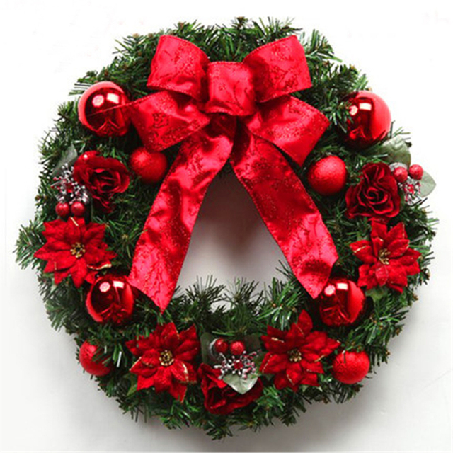 christmas wreath 50cm for decoracion de navidad discount outdoor christmas decorations enfeite luxury christmas door hangin