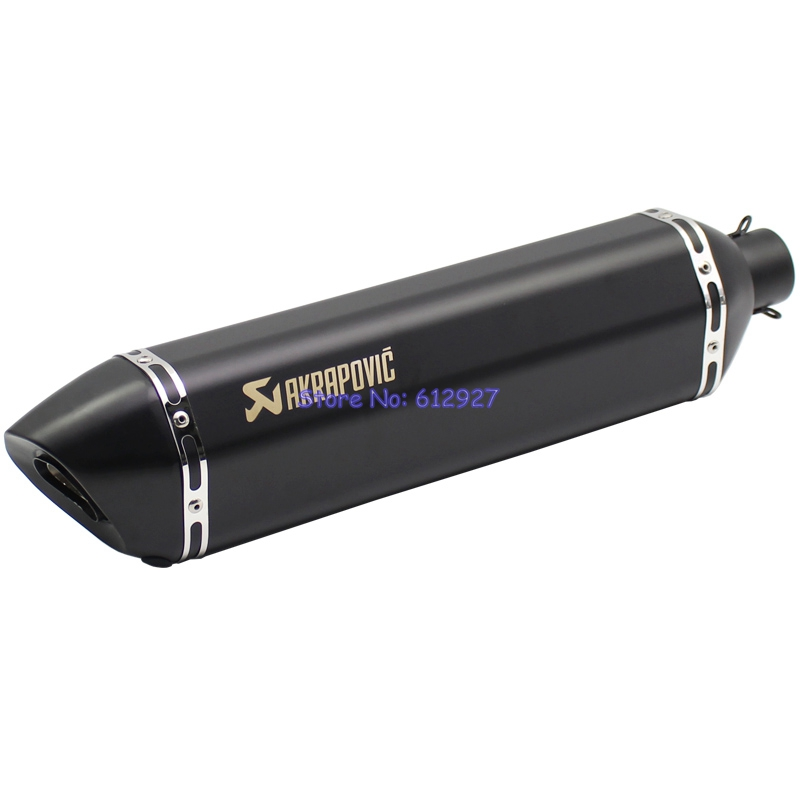 Length 570mm Inlet 51mm Motorcycle Exhaust Muffler Pipe Akrapovic Motorbike Mufflers Escape Slip On universal 570mm motorcycle akrapovic exhaust muffler pipe motorbike scooter glossy carbon fiber muffler exhaust pipe escape