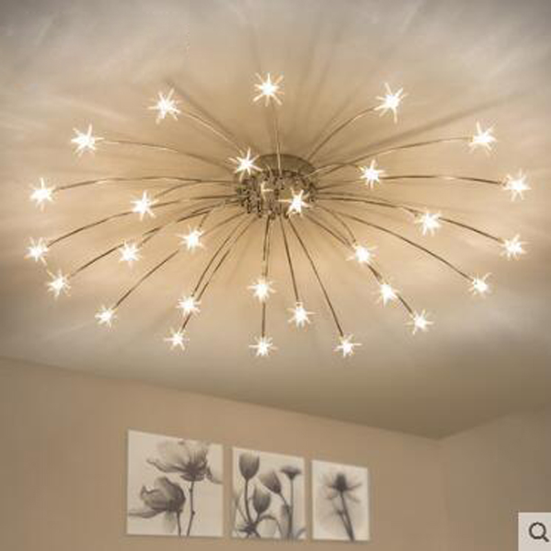 Nordic stars LED atmospheric living room lighting modern minimalist restaurant bedroom lamp creative fashion ceiling lamp led led ceiling lamps iron creative lighting modern minimalist living room bedroom lamp restaurant