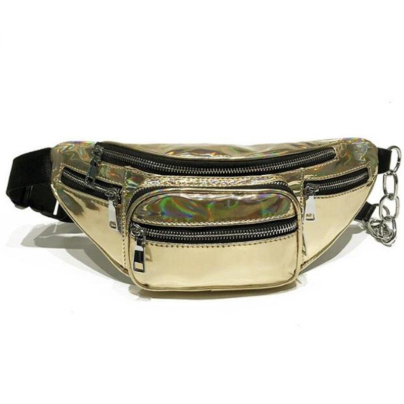 Plover Laser Waist Pack Women Luxury Brand Summer Waterproof Hologram Female Belt Bag Fanny Pack Bag PU Waist Bags