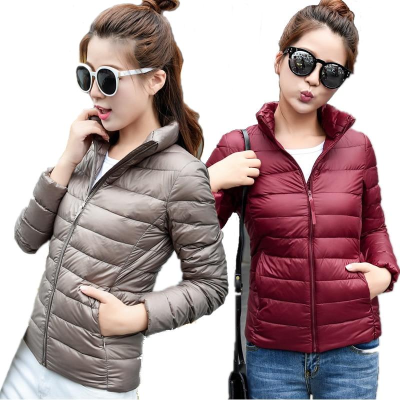 Women Winter Coat 2018 New Ultra Light White Duck Down Jacket Slim Women Winter Puffer Jacket Portable Windproof Down Coat S-6XL