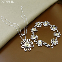 925 Sterling Silver Jewelry Flowers Bracelet Necklace Fashion Bridal Party Sets For Women