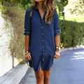 ZANZEA Women Mini Dress 2016 Autumn Casual Loose Long Sleeve Button Shirt Dresses Denim Vestidos Long Tops Hot Sale