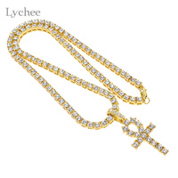Lychee Vintage Rhinestone Egyptian Ankh Cross Pendant Necklace Silver Gold Color Crystal Necklace Jewelry For Men