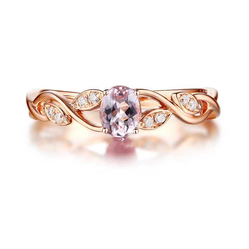 Solid 14k Rose Gold Ring Natural Diamonds Morganite Engagement Wedding Ring for Women Fine Jewelry Trendy trendy environmental alloy openwork width ring for women