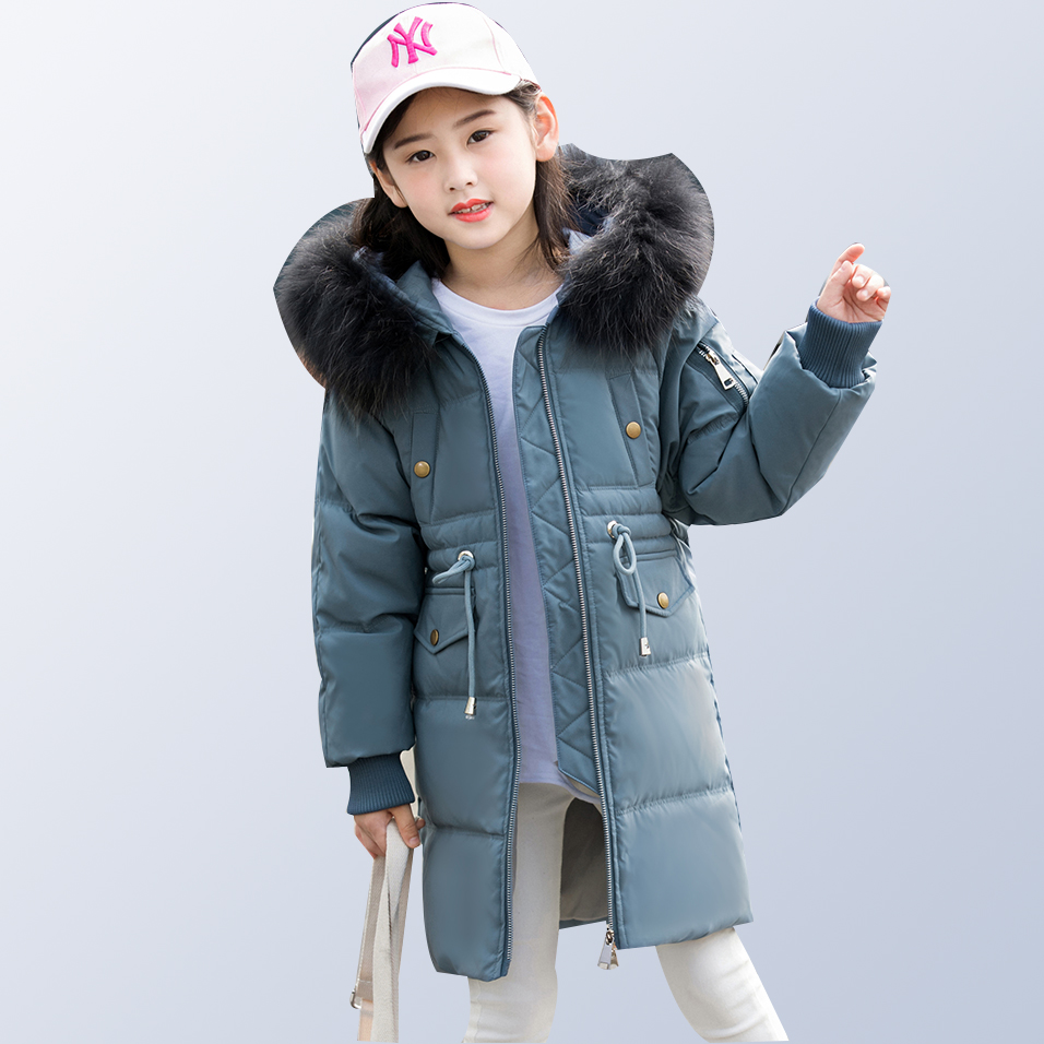 Children down jacket long thick winter clothing 80% white duck down boys girls teenage clothes for kids 6 8 10 12 14 Years old princess girls winter coat long duck down thick faux fur hooded winter jacket for kids girls age 6 8 10 12 14 years old