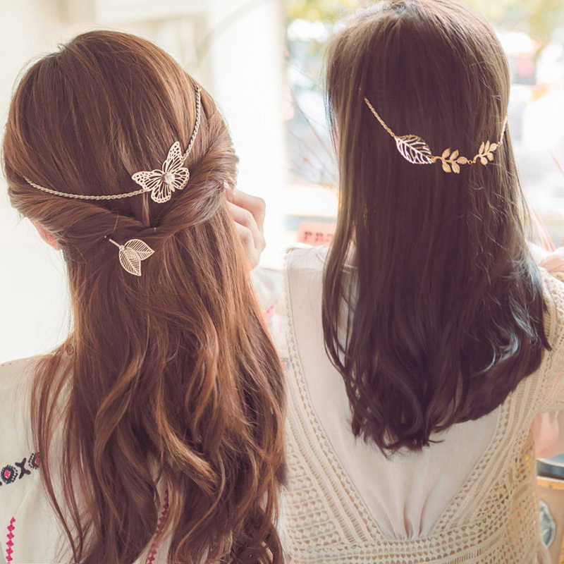 Gold Metal Leaf  Butterfly Hairgrip Wedding Hairpins Headband Hair Accessories Hair Clips for Bride Women HairChain Jewelry 2019