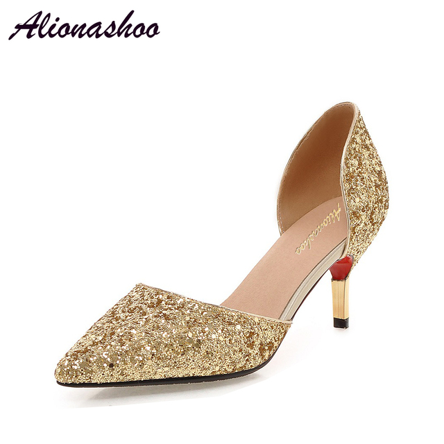 Alionashoo 女性はファッションハイヒールの靴ブラックゴールドシルバーホワイト靴の女性のブライダル結婚式の靴の女性プラスサイズ 34 -43