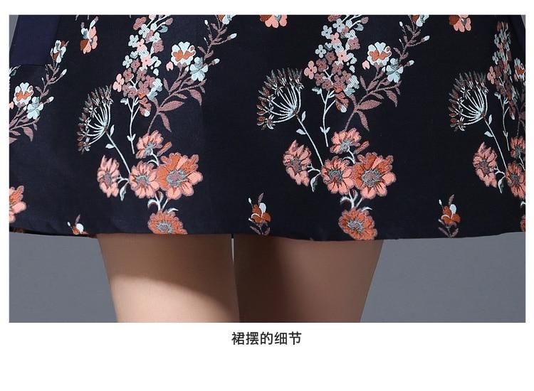 Las Otoño Vestidos A2873 Navy Moda Vestido Gran Mujeres Primavera Ropa Stitch Delgada Femenino De Nueva Además Foral Invierno Tamaño 2017 Coreano q8tFFA