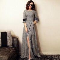VERRAGEE Long Maxi Dress Brand Casual Dresses Asymmetric Long Sleeve Pocket Split Elegant Dress Maxi