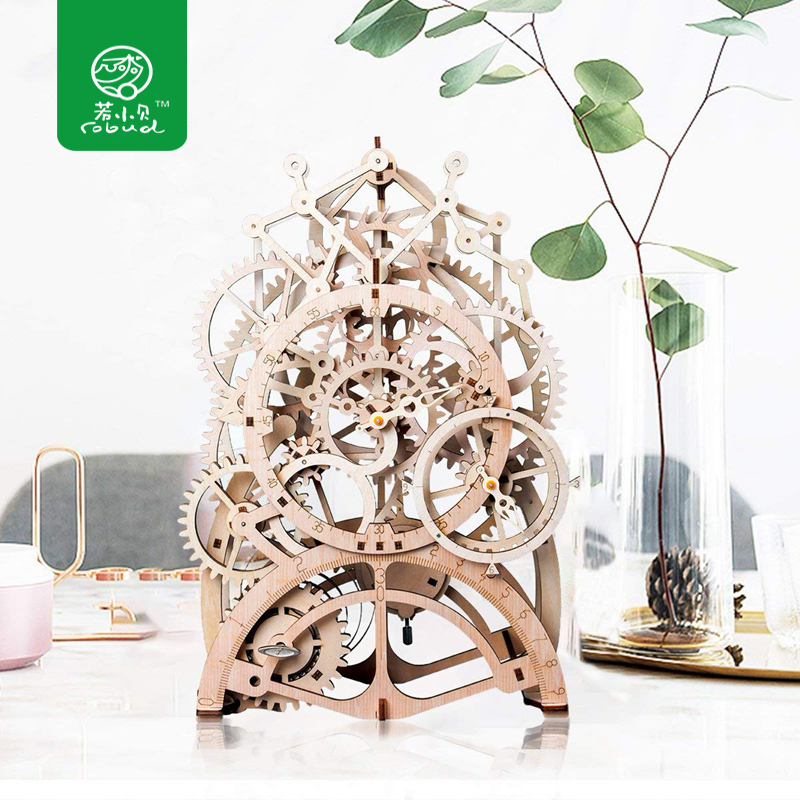 Robud DIY Model Building Kits Laser Cutting 3D Wooden Mechanical Action by Clockwork Gift Toys for Children LK for Dropshipping