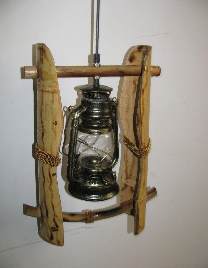 Amerikaanse land woonkamer bamboe hanglampen antieke vintage kerosine lantaarn lampen persoonlijkheid slaapkamer bedlampje-in Hanglampen van Licht & verlichting op
