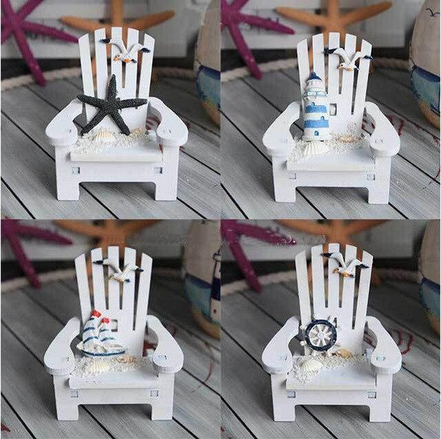 Mini chair nautical home decor photo props wood home decor for Adornos de jardin en madera