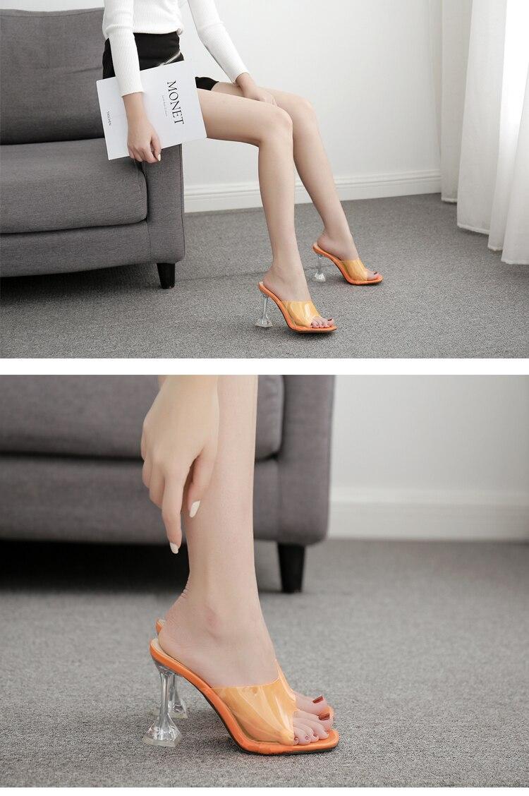 HTB1csMRXEY1gK0jSZFMq6yWcVXam Eilyken Orange Silver PVC Jelly Slippers Open Toe High Heels Women Transparent Perspex Slippers Shoes Heel Clear Sandals Size 42