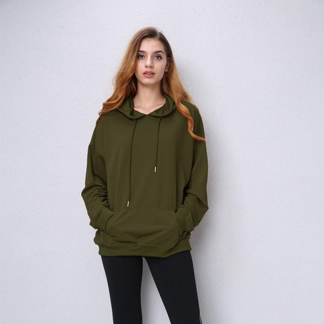 Women Camel Hooded Sweatshirt Long Sleeve Pullover Hoodie