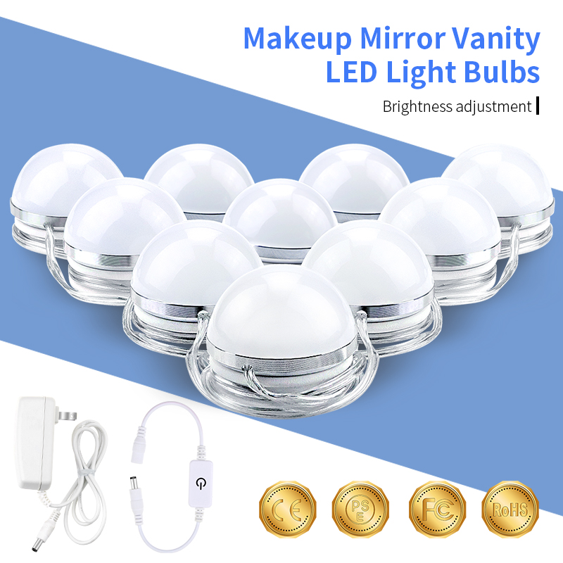 Makeup Mirror Vanity LED Light Bulbs Kit for Dressing Table 10 Bulbs Decoration Wall Lamps Hollywood AC85-265V Stepless Dimmable led gold deco chandelier bulbs candle light e14 85 265v 5w lamps