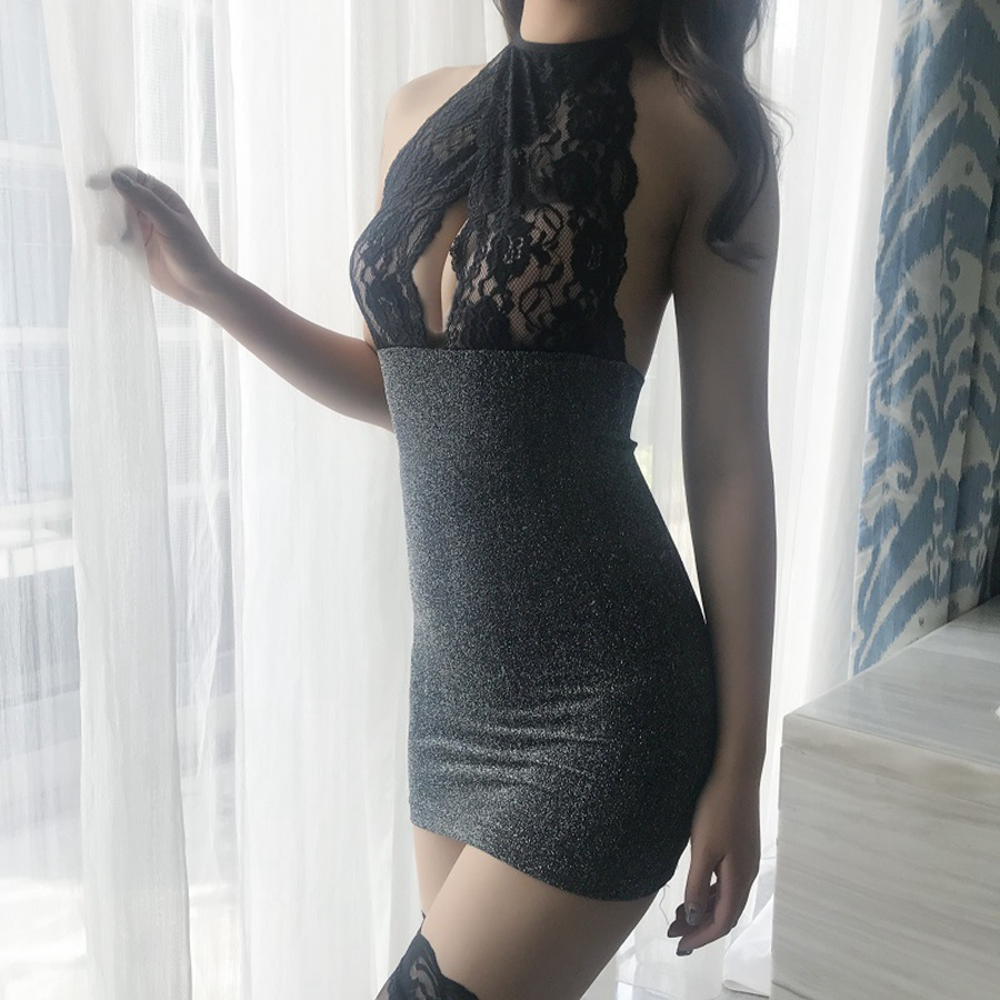 Lady Porno Lingerie Dress With Stocking Women Porn See Though Lace Mini Dress Sexy Chemise Babydoll Night Gown Sleep Wear