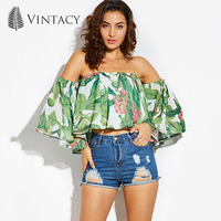 Vintacy 2017 Women Green Summer T Shirt Flare Sleeve Beach Print Party Women Tops Women Female