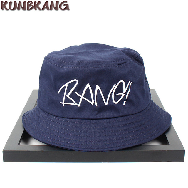 ae9472aa681 New Couple Fashion Bucket Hat Letter BANG Embroidery Fisherman Sun Hat  Cotton Men Women Outdoor Street