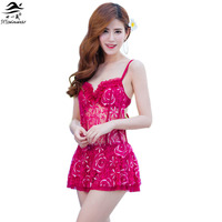 2016 Sexy Lady Lace Dress Young Women Summer See Through Swimwear Pretty Socialite Push Bust Up