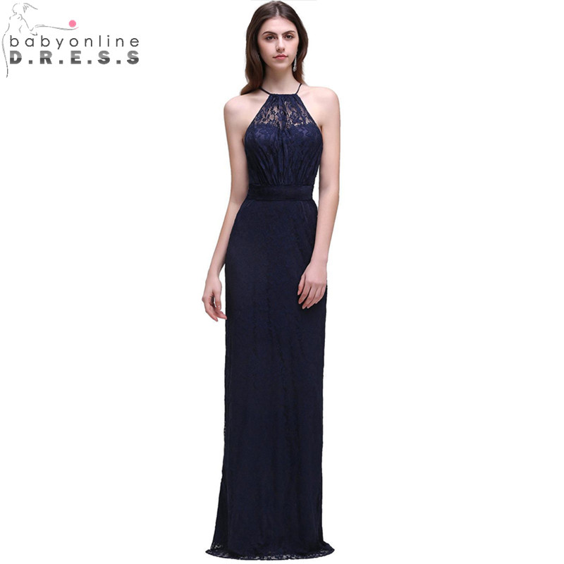 Robe demoiselle D'honneur Cheap Navy Blue Halter Neck Lace Long   Bridesmaid     Dresses   Vestido de Festa de Casamento