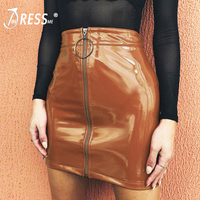 INDRESSME Women Bandage PU Leather Mini Skirts Zipper In Front Mini Club Pencil Sexy Moto Skirt 2018 New Fashion Hot