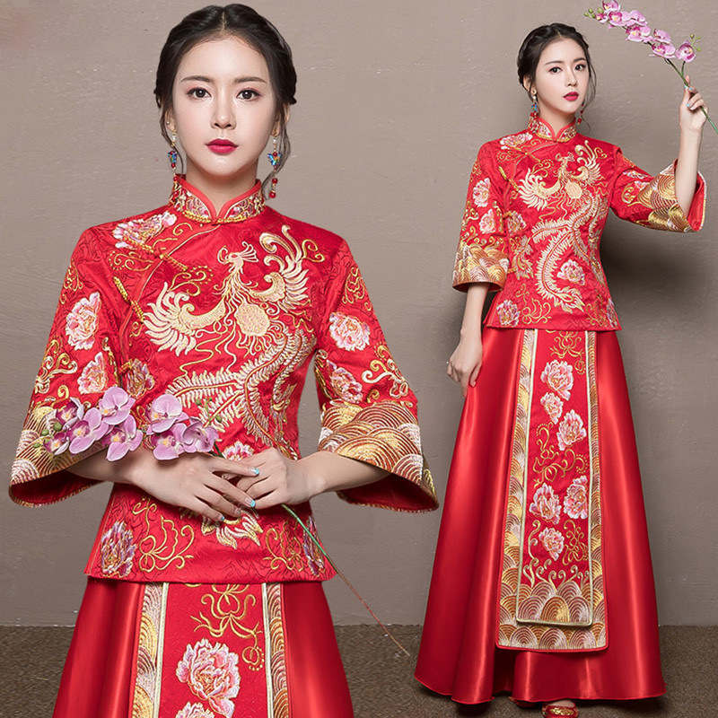 2018 Modern Cheongsam Red Qipao Long Traditional Chinese Wedding Dress Oriental Style Dresses China Clothing Store