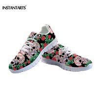 INSTANTARTS Vinage Women Running Shoes Cool Punk Skull Printed Sneakers Lightweight Mesh Breathable Female Outdoor Sports Shoes