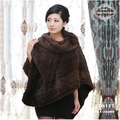 2014 New Women's Autumn Large Knitted Mink Fur Cape Women