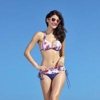 2017 Push Up Bikini Roupa De Praia Swimwear Women Padded Fringe Bandeau Bikini Set New Swimsuit
