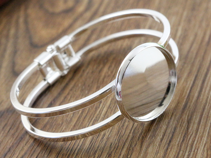 High Quality 25mm Silver Plated Bangle Base Bracelet Blank Findings Tray Bezel Setting Cabochon Cameo (L6-02) mibrow 10pcs lot stainless steel 8 10 12 14 16 18 20mm blank french lever earring tray cabochon setting cameo base jewelry