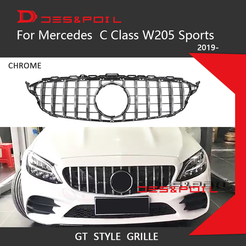 2019 New C Class <font><b>W205</b></font> GT Grille Vertical Grill Mesh Grid Front Bumper Racing Coupe Sedan For Mercedes C180 <font><b>C200</b></font> C250 C43 Sports image