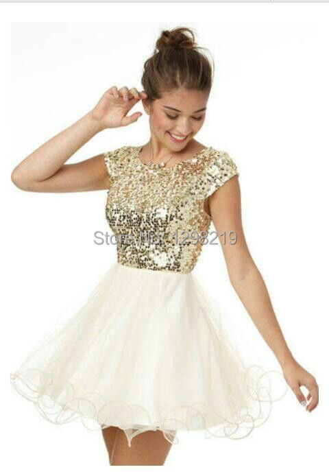 Aliexpress.com : Buy 2014 Cute Gold Sequined Short Prom Dresses ...