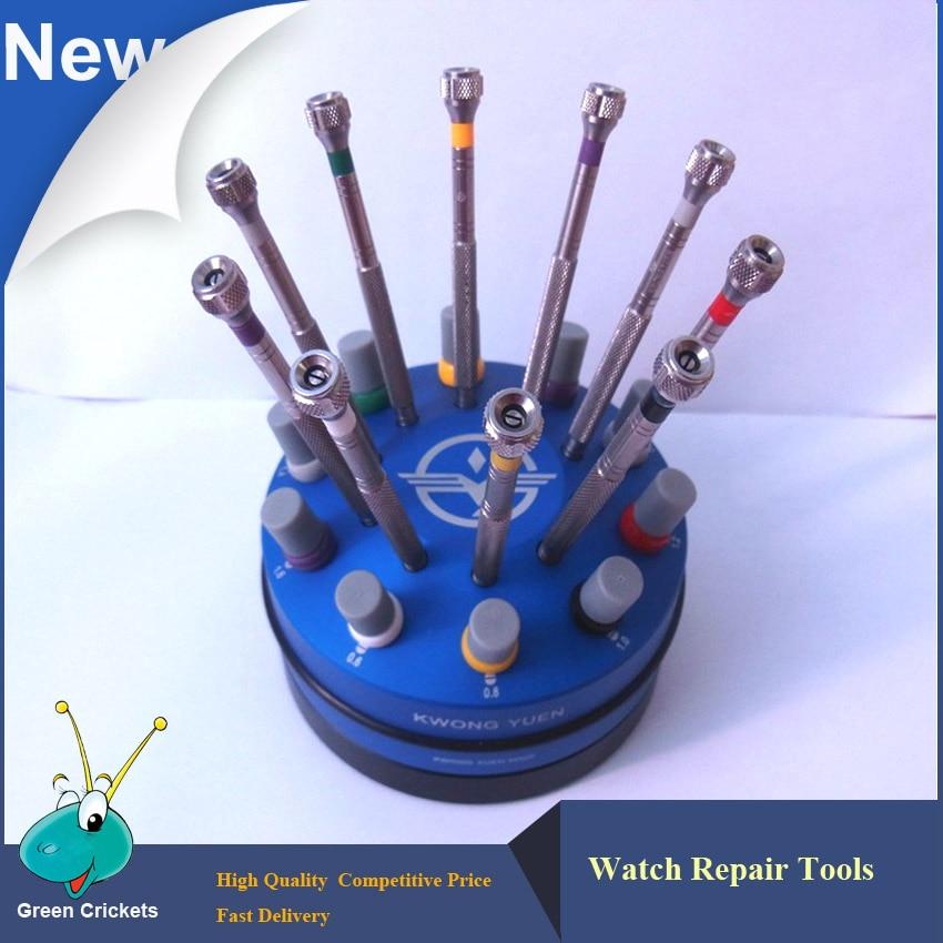 10pcs set High Quality 316 Steel Watch Screwdrivers set Watchmaker watch repair screwdriver with Rotating Base