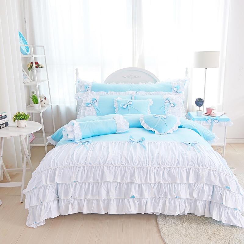 100% Cotone rosa viola re regina doppia singola Doppia dimensione biancheria da letto delle ragazze set increspature coreano letto set lenzuolo set copripiumino copertura-in Completi letto da Casa e giardino su  Gruppo 2