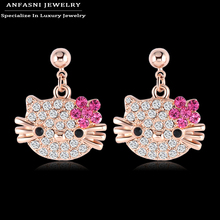 ANFASNI Christmas Cat Earrings Rose Gold Color Stud Earrings High Quality Genuine SWA Stellux Cute Girl Earrings Jewelry ER0109(China)